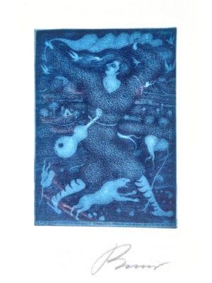 Radierung Kunstwerk. Blautonanteile in Form von Figuren und Tieren