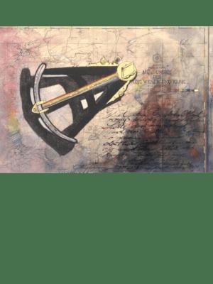 Mischtechnik Kunstwerk. Regenbogenoktant auf Landkarte.