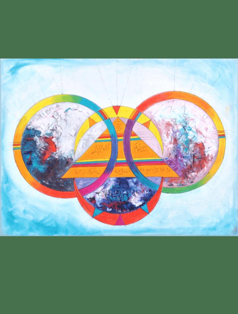 Ölmalerei Kunstwerk. Bunte Farbumgebung. Abstrakte geometrische Formen
