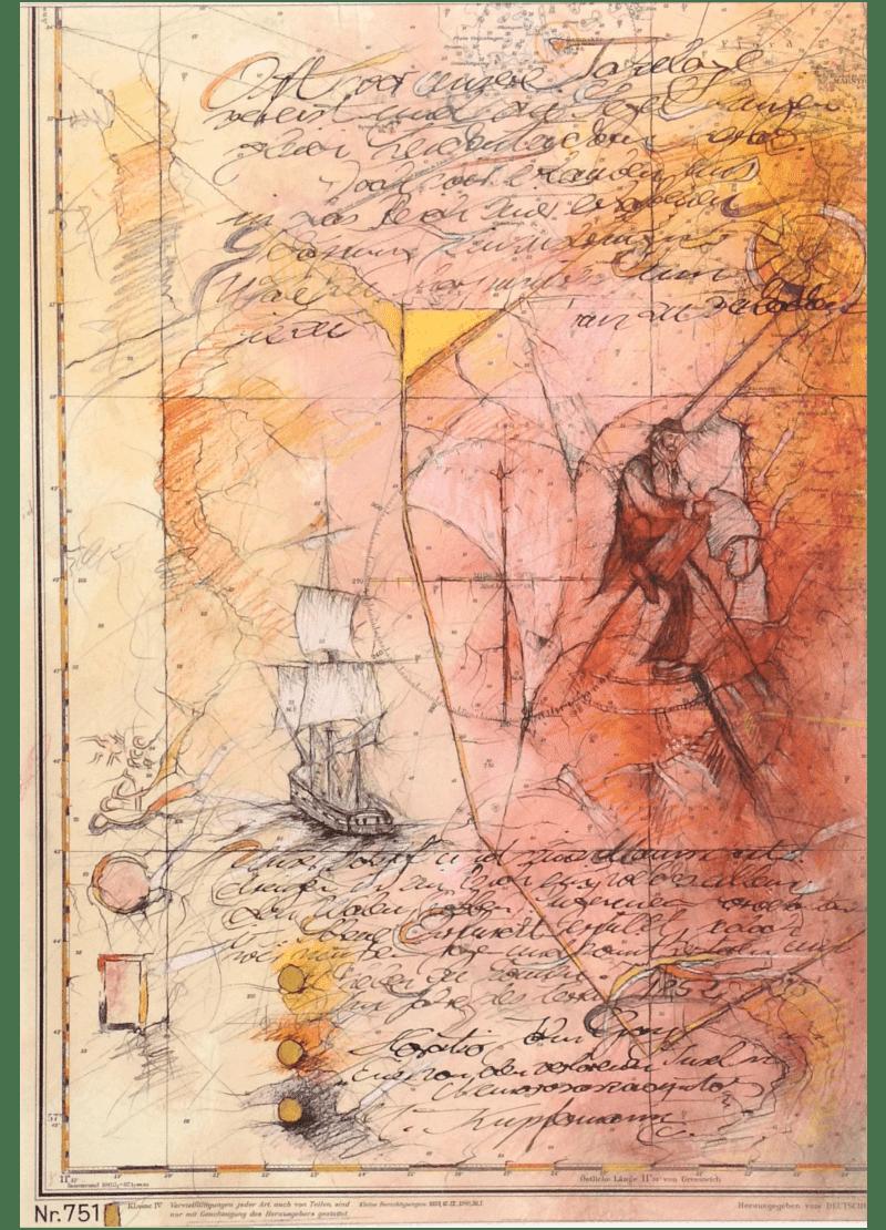 Mischtechnik Kunstwerk. Rote Farbumgebung. Abstrakte Zeichnung auf Landkarte
