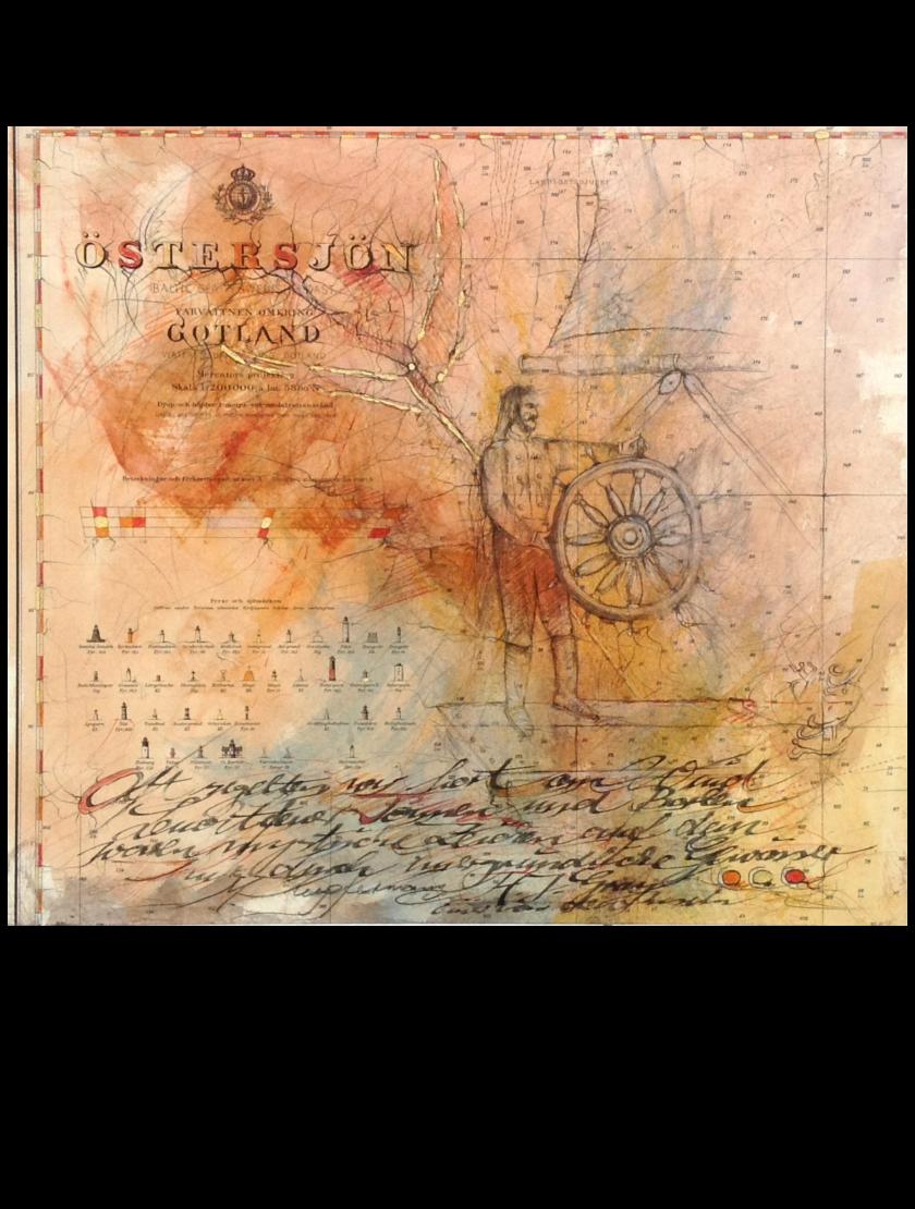 Mischtechnik Kunstwerk. Gedeckte Farbumgebung. Segelschiff und Kapitän auf Landkarte