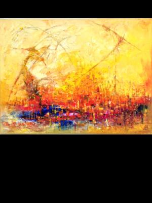 Ölmalerei Kunstwerk. Warme Farbgebung