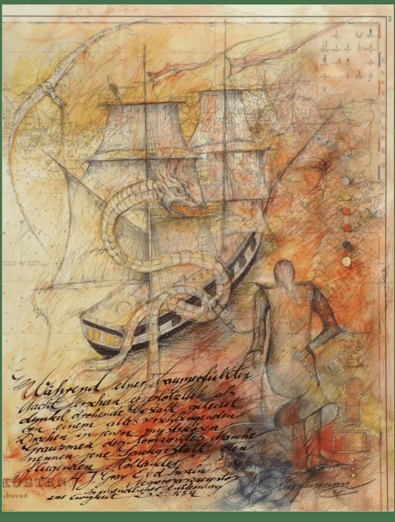 Mischtechnik Kunstwerk. Gedeckte Farbumgebung. Segelschiff und Drachen auf Landkarte