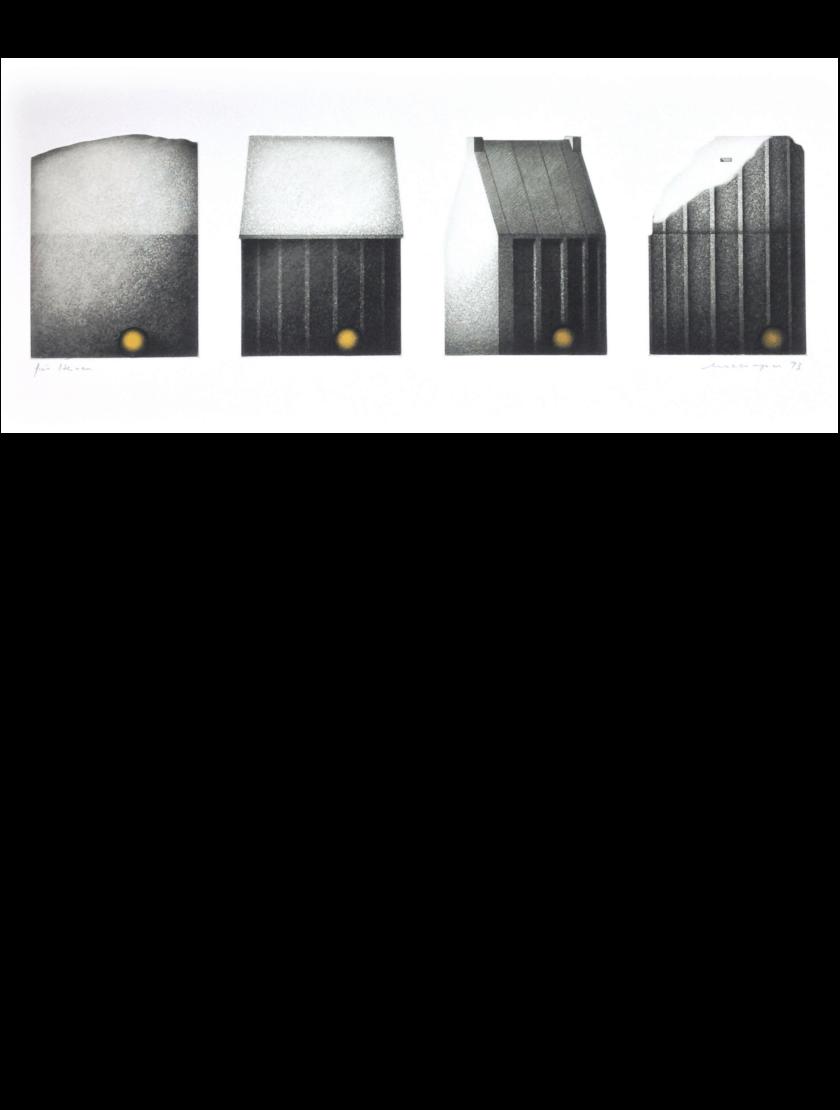 Radierung Kunstwerk. Schwarz-Weiß Serie von Häusern in vier Perspektiven.