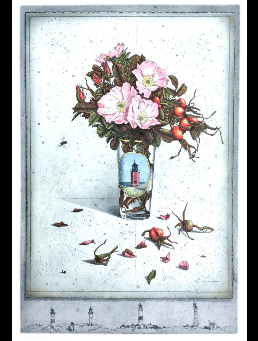 Radierung Kunstwerk. Glasvase mit Blumen
