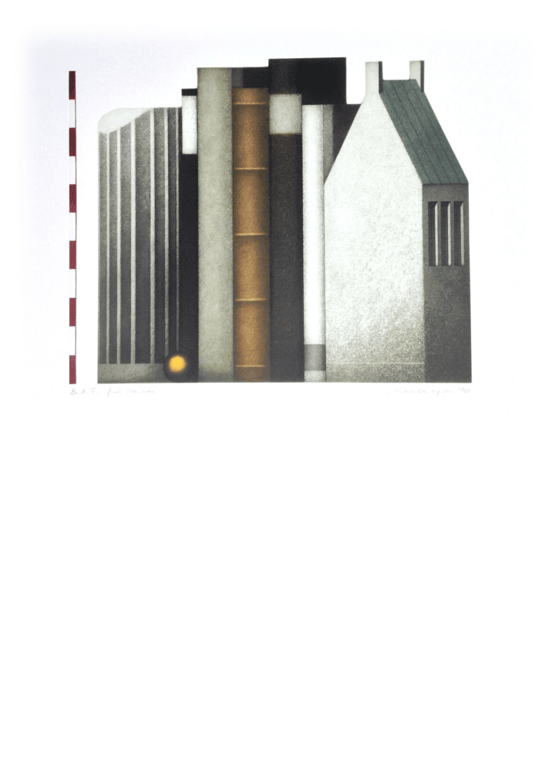 Kunstwerk Radierung. Abstrakte Häuserreihe