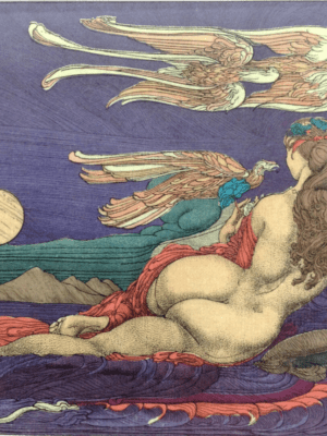 """Kunstwerk von Ernst Fuchs: """"Die Bachnymphe"""". Nackte Frau, Rückenansicht."""