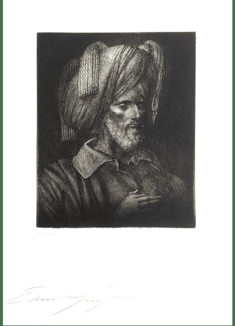 Radierung Kunstwerk. Mann mit Turban in Schwarz-Weiß