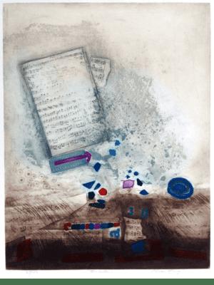 Radierung Kunstwerk. Abstrakte Formen- und Farbenkombination und Musiknoten