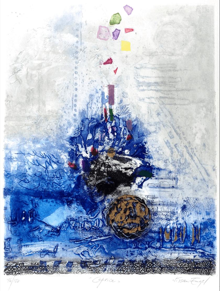 Radierung Kunstwerk. Abstrakte Formen- und Farbenkombination. Hauptsäch dominiert blau.