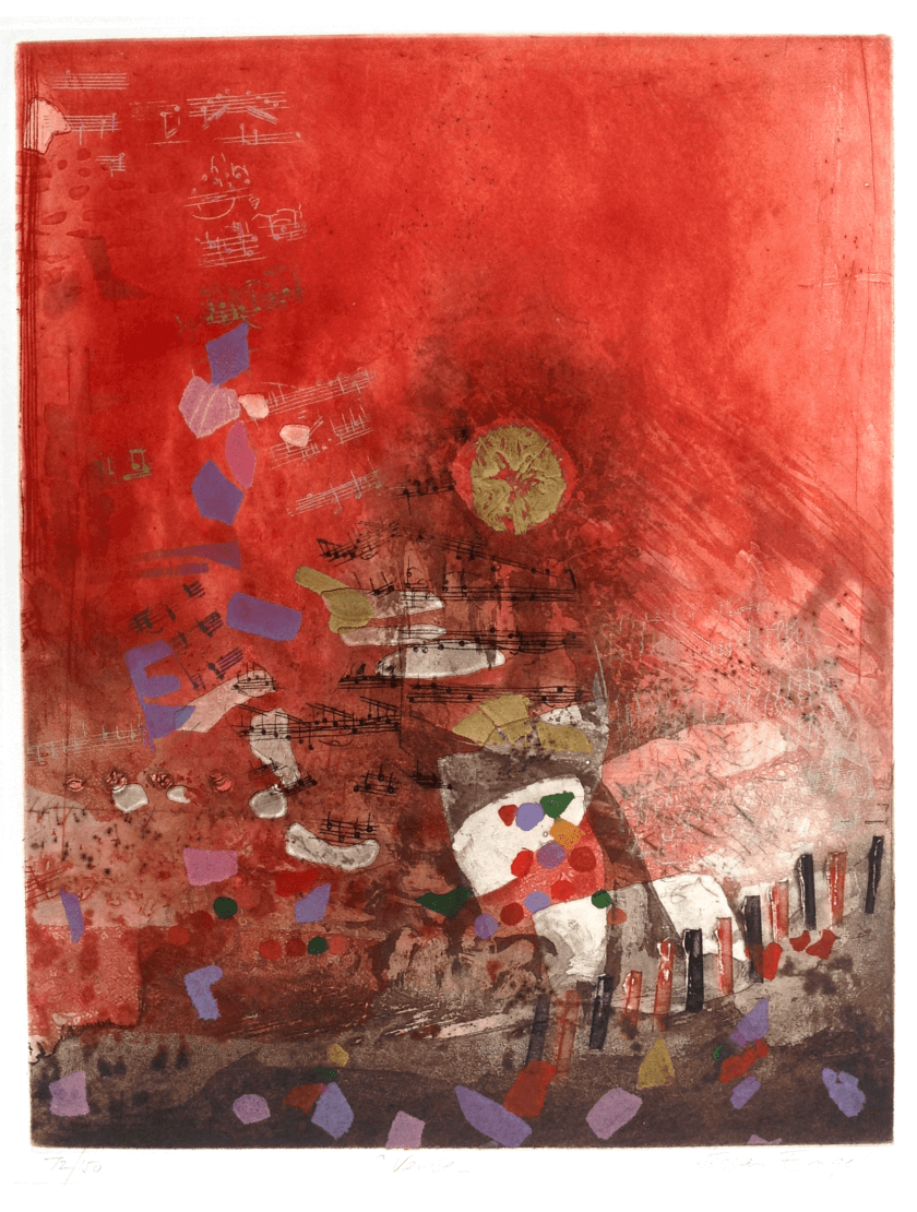 Radierung Kunstwerk. Abstrakte Formen- und Farbenkombination. Hauptsäch dominiert rot.