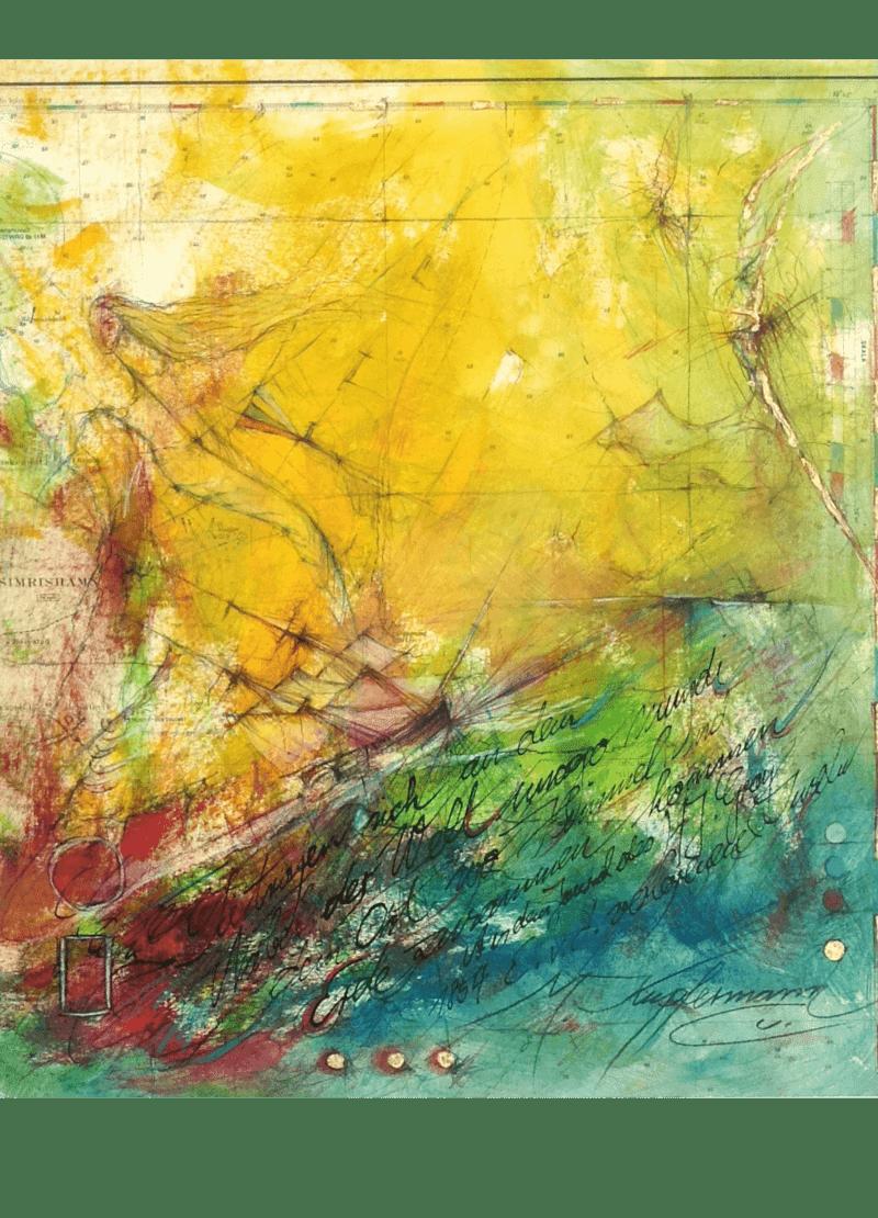 Mischtechnik Kunstwerk. Farbenfrohe Farbumgebung. Seemotiv auf Landkarte