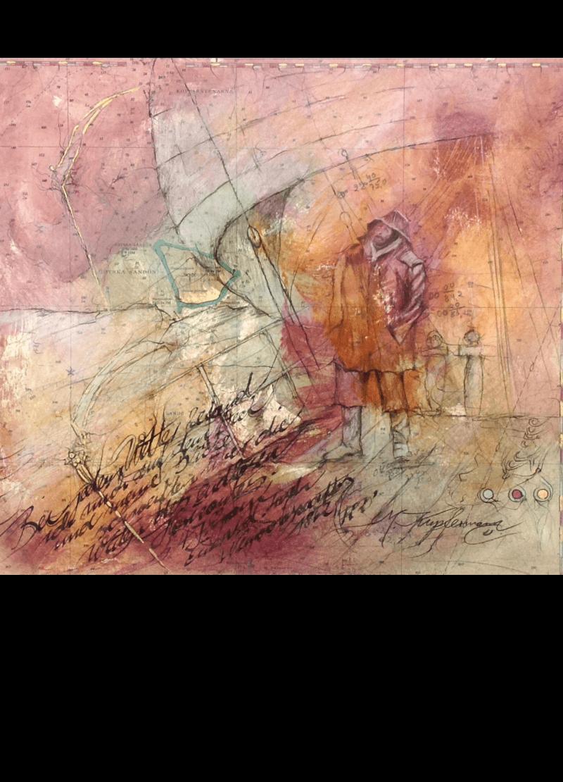 Mischtechnik Kunstwerk. Rosa und gedeckte Farbumgebung. Fischer auf Landkarte