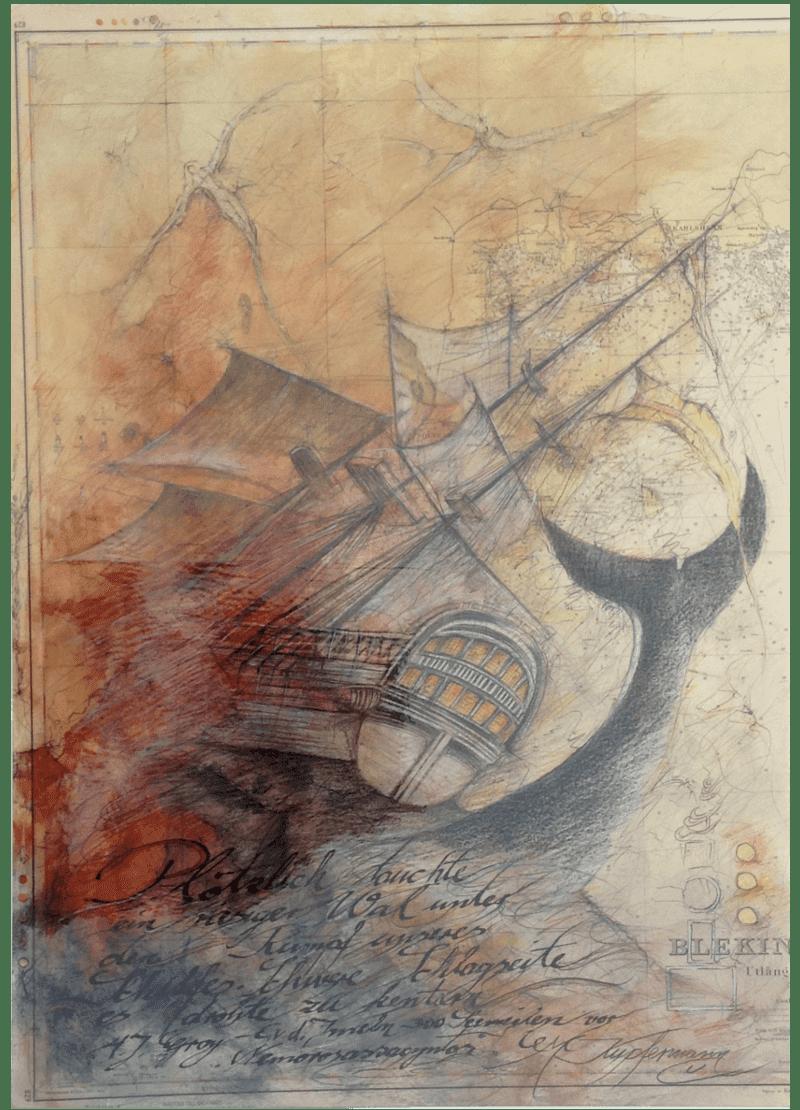 Mischtechnik Kunstwerk. Segelschiff und Wal im Sturm auf der See