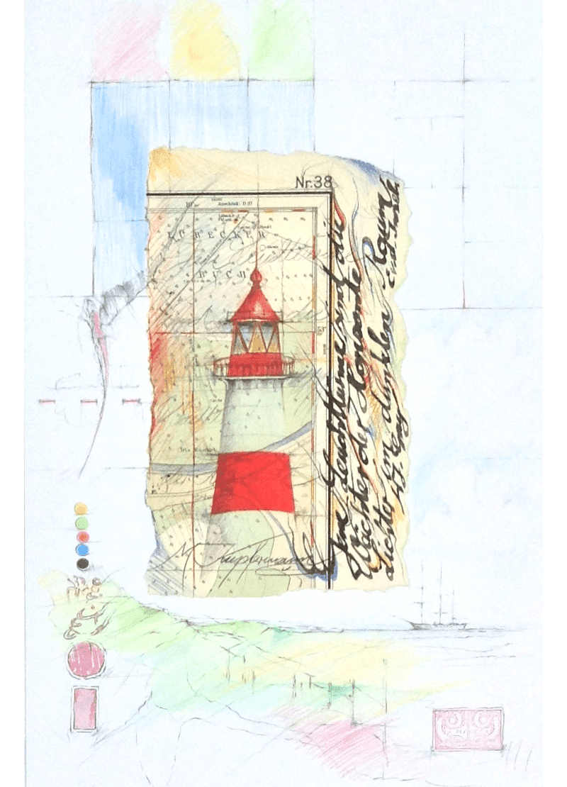 Mischtechnik Kunstwerk. Gedeckte Farbumgebung Leuchtturm