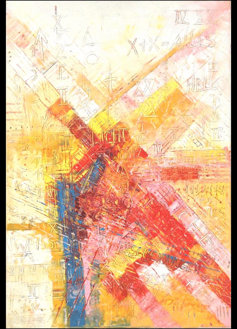 Ölmalerei Kunstwerk. Warme Farben zeigen in abstrakter Weise den Lichteinfall