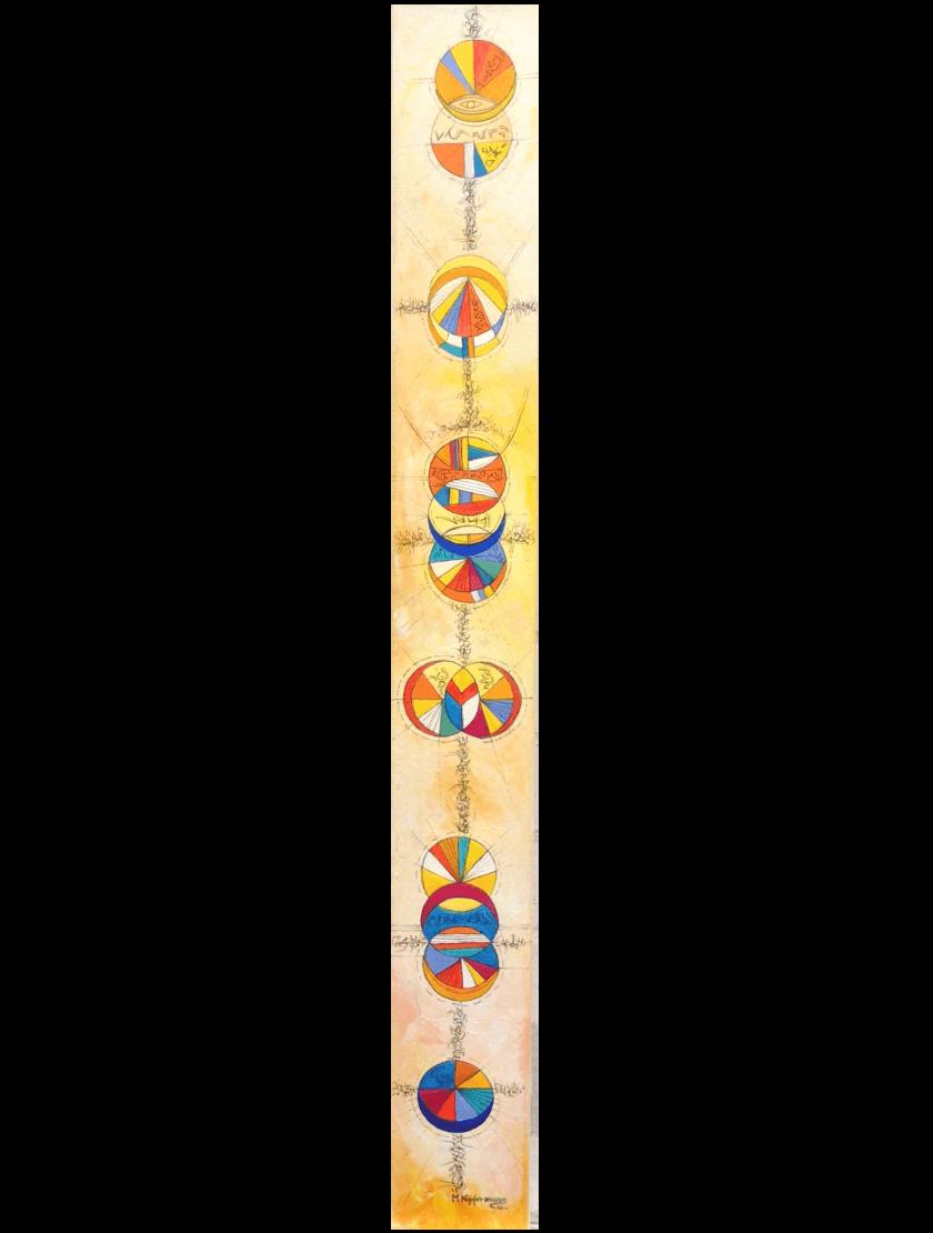 Ölmalerei Kunstwerk. Bunte und warme Farben zeigen in abstrakter Weise Kreise in verschiedener Anordnung.