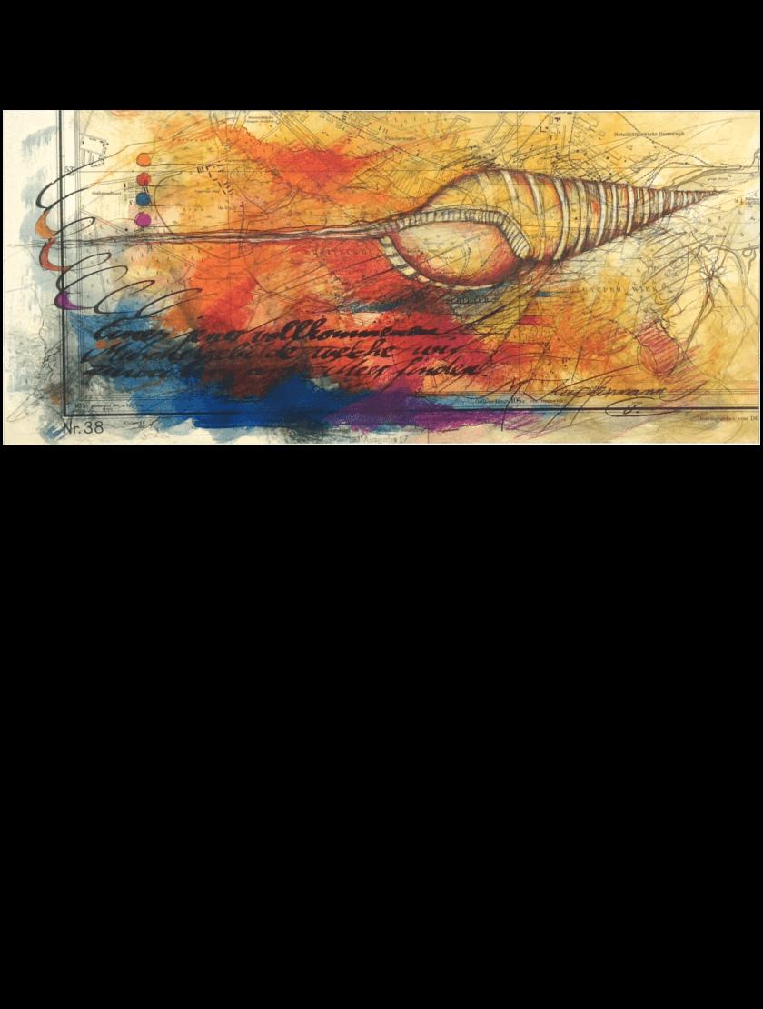 Mischtechnik Kunstwerk. Bunte Farbumgebung Muschel auf Landkarte