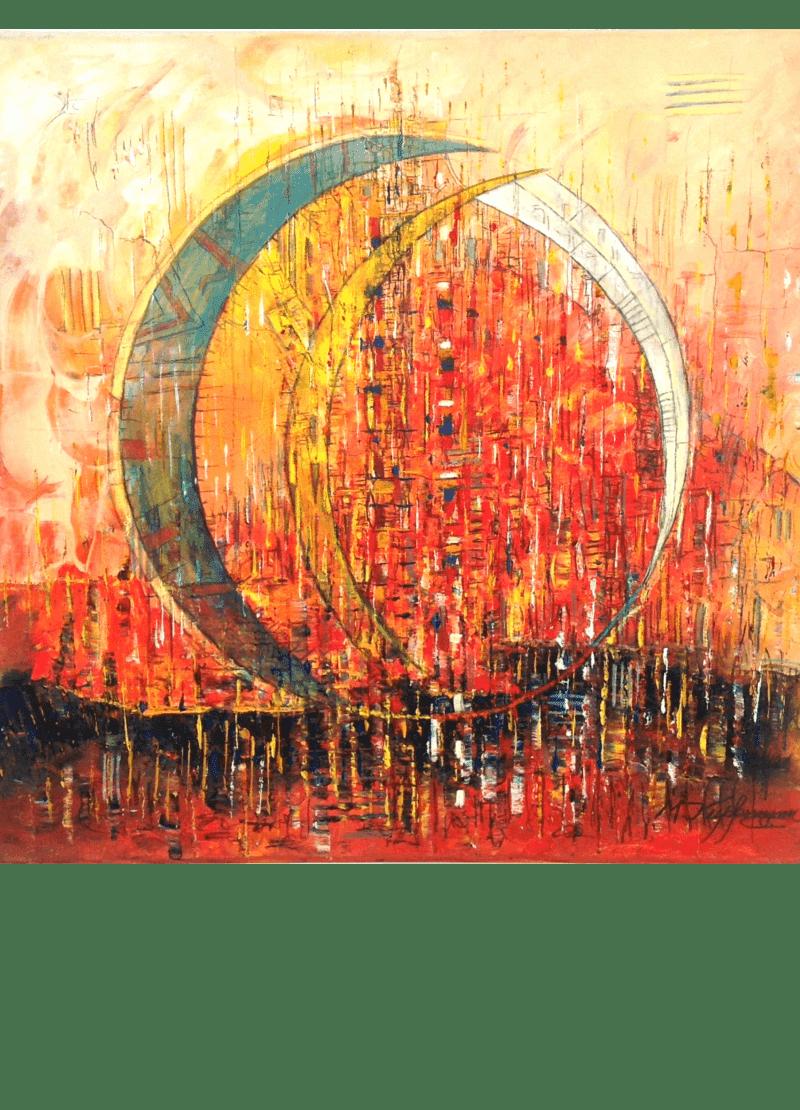 Ölmalerei Kunstwerk. Warme Farben zeigen in abstrakter Weise Sichel