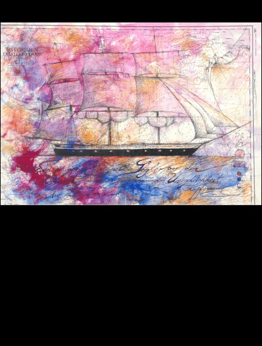 Mischtechnik Kunstwerk. Rosane Farbumgebung und Segelschiff auf Landkarte