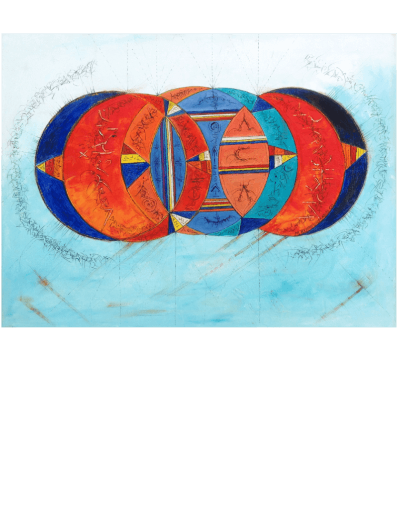 Ölmalerei Kunstwerk. Bunte und kalte Farben zeigen in abstrakter Weise überlappende Kreise