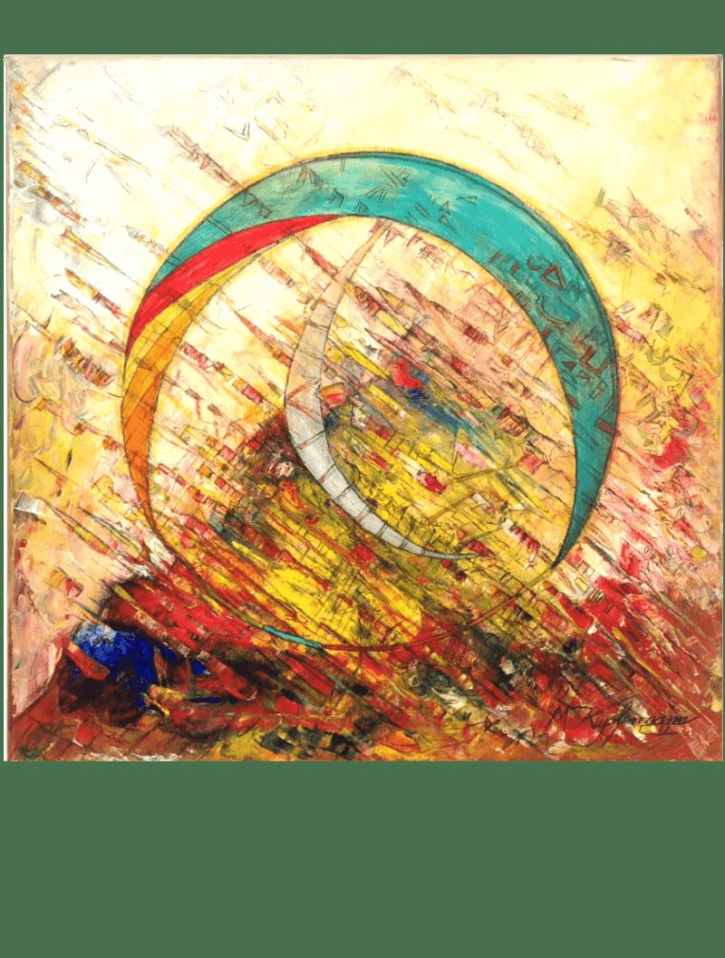Ölmalerei Kunstwerk. Bunte und warme Farben zeigen in abstrakter Weise zwei Sicheln