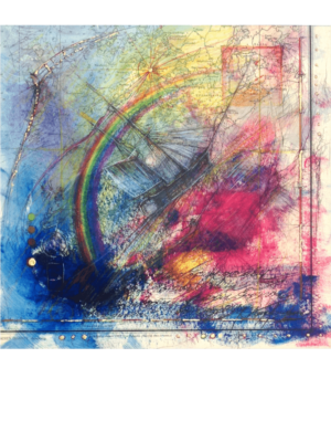 Mischtechnik Kunstwerk. Seemotive und Regenbogen auf Landkarte