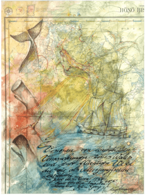 Mischtechnik Kunstwerk. Seemotive wie Wal und Schiff auf Landkarte