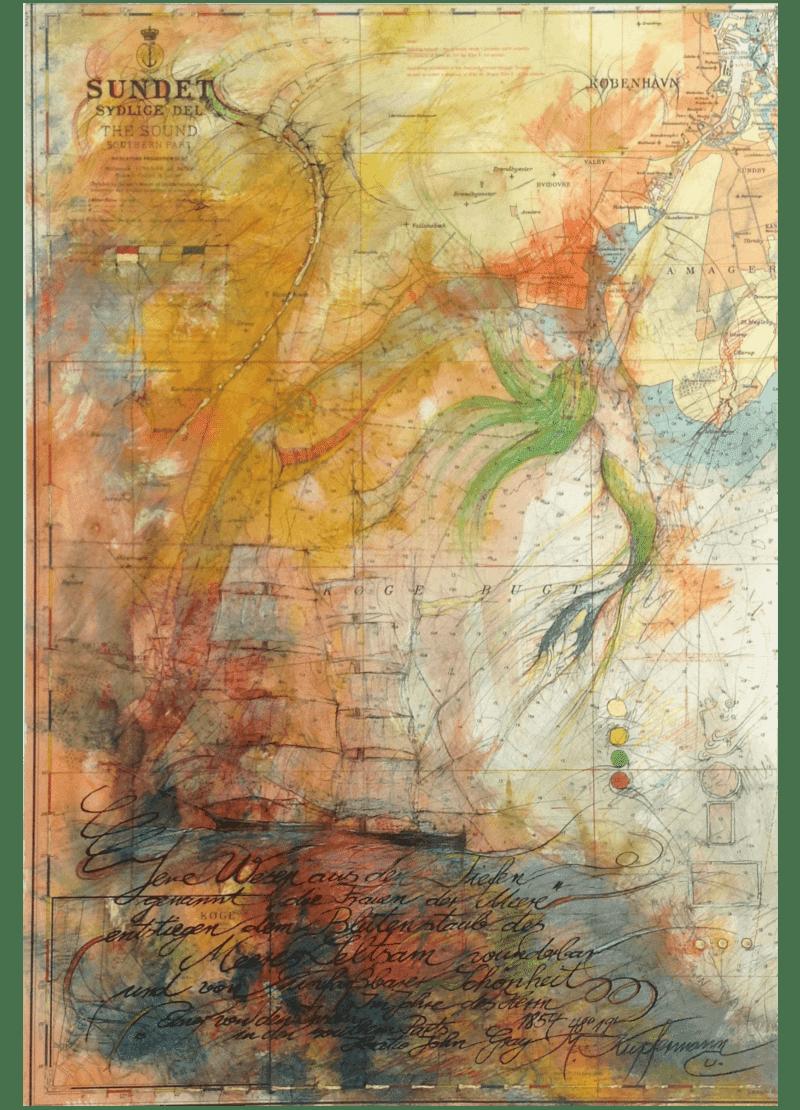 Mischtechnik Kunstwerk. Malerei auf Landkarte