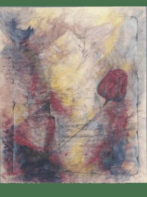 Mischtechnik Kunstwerk. Abstraktes Gemälde, entworfen mit verschiedenen Techniken. Rose sticht hervor.
