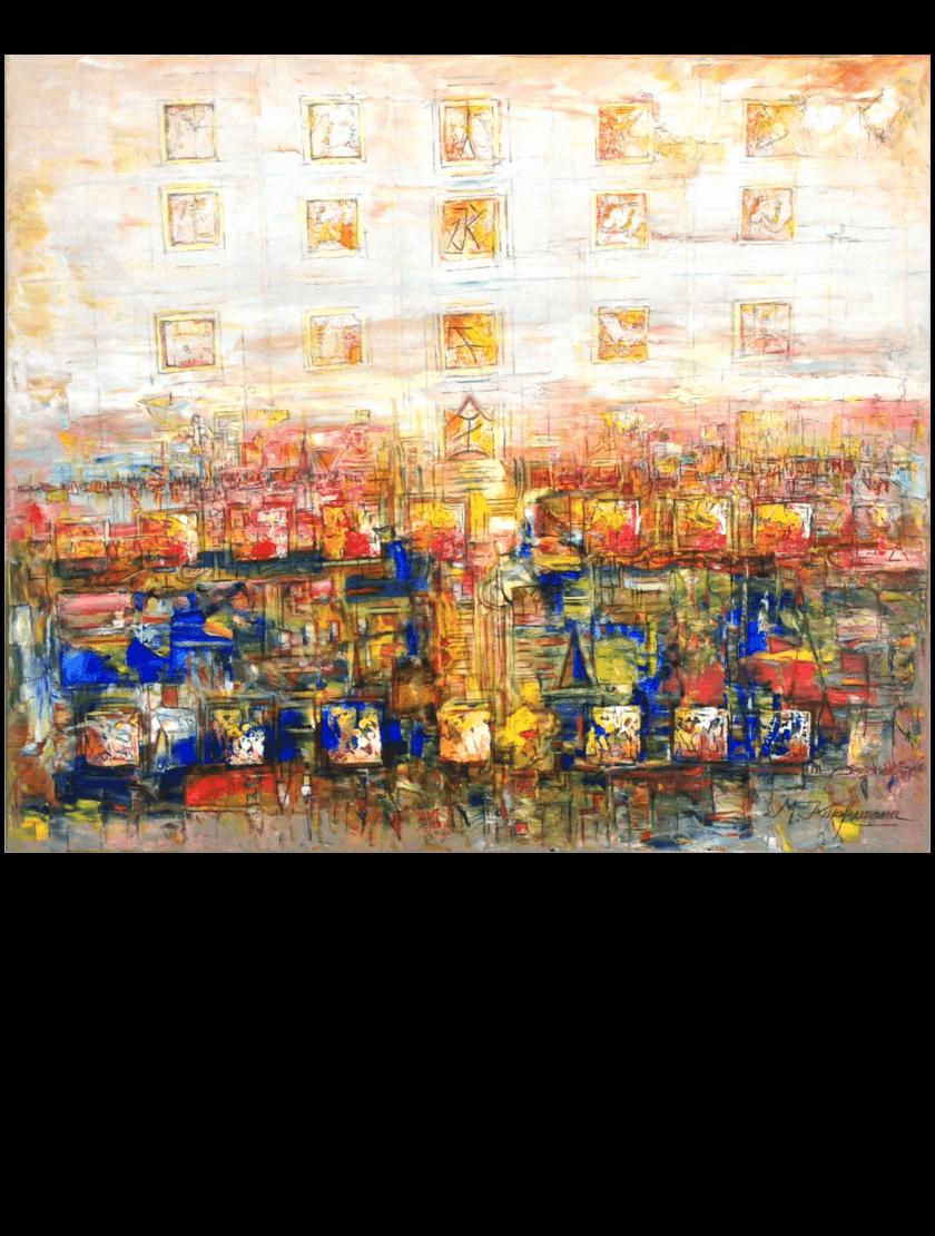 Ölmalerei Kunstwerk. Bunte und warme Farben zeigen in abstrakter Weise zwei Tafeln